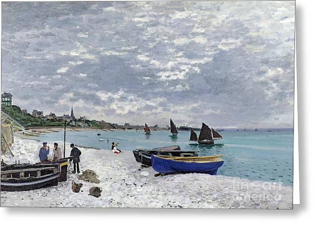Ocean Shore Paintings Greeting Cards - The Beach at Sainte Adresse Greeting Card by Claude Monet