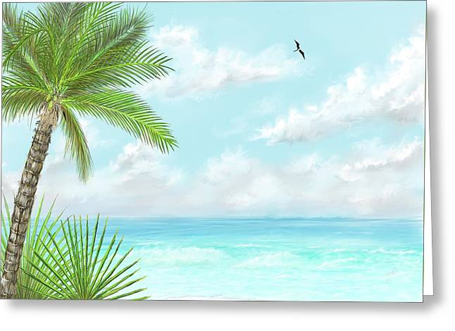 Greeting Card featuring the digital art The Beach by Darren Cannell