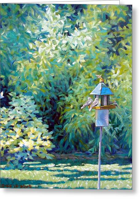 Fig Trees Greeting Cards - The Bird Feeder Greeting Card by Kevin Lawrence Leveque