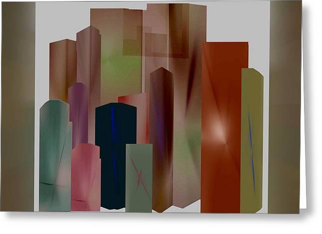 Greeting Card featuring the digital art The Block by John Krakora