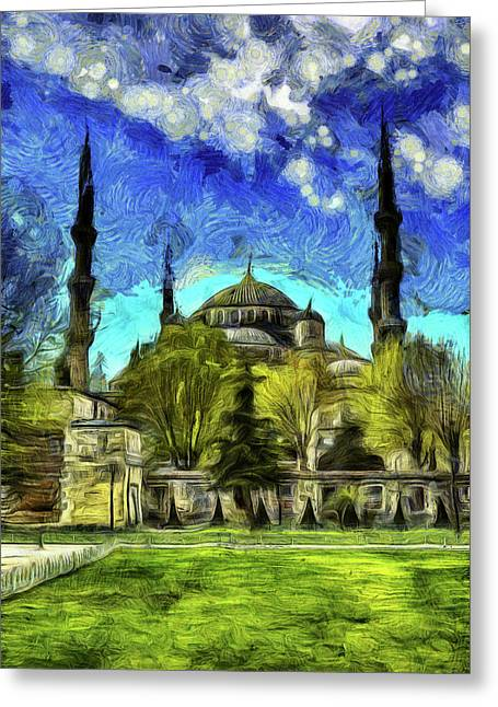 The Blue Mosque Istanbul Art Greeting Card
