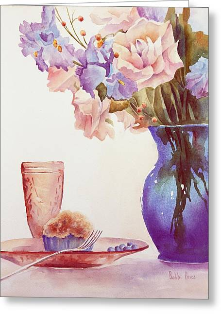 The Blue Vase Greeting Card by Bobbi Price