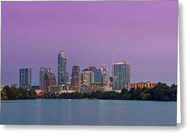 The Boardwalk Trail At Lady Bird Lake - City Of Austin Skyline - Texas Hill Country Greeting Card by Silvio Ligutti