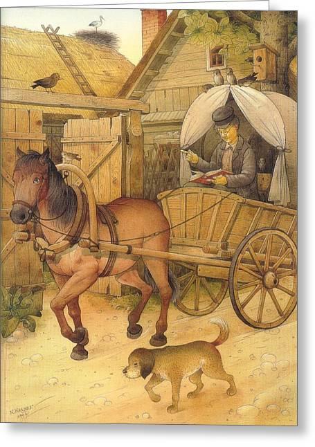 The Bookman Greeting Card by Kestutis Kasparavicius