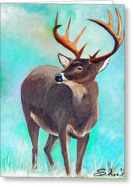 Greeting Card featuring the painting the Buck Stops Here by Sherril Porter