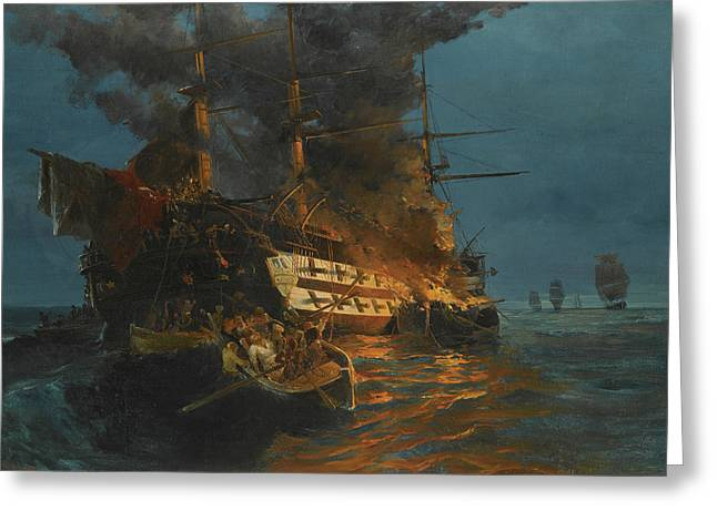 The Burning Of A Turkish Frigate Greeting Card by Konstantinos Volanakis