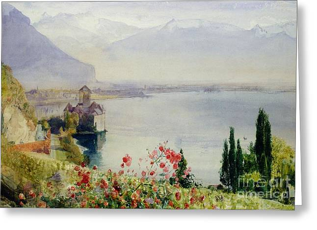 Natural Beauty Paintings Greeting Cards - The Castle at Chillon Greeting Card by John William Inchbold
