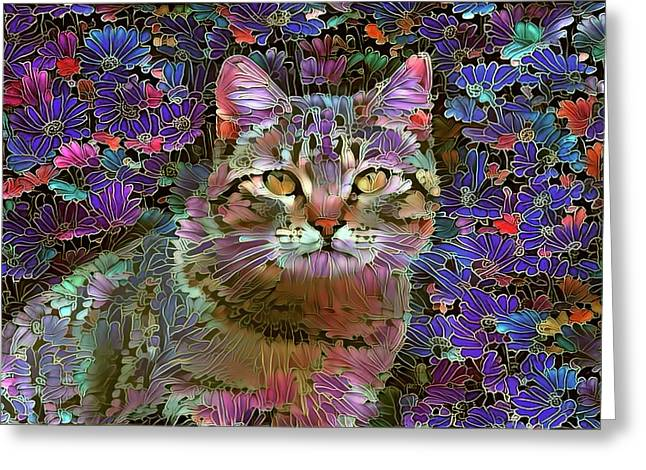 The Cat Who Loved Flowers 2 Greeting Card