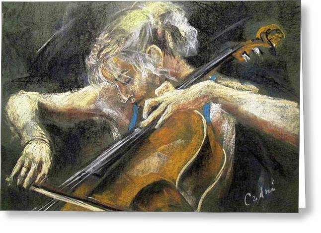 The Cellist Greeting Card by Debora Cardaci