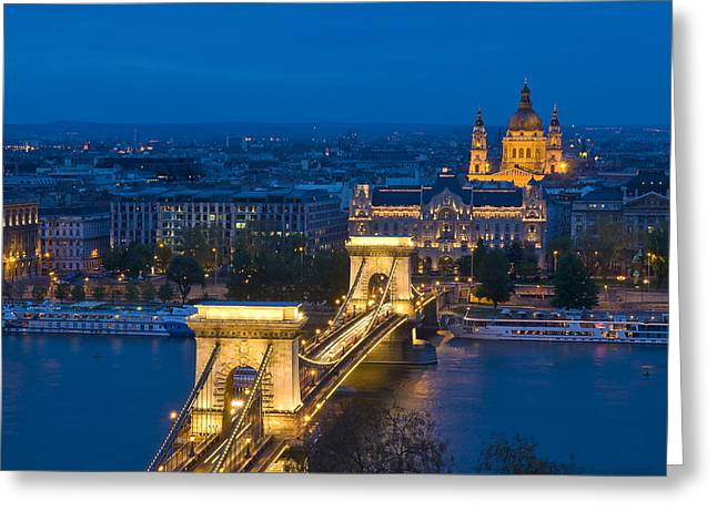 The Chain Bridge In Budapest Greeting Card by Kobby Dagan