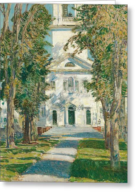 The Church At Gloucester Greeting Card by Childe Hassam