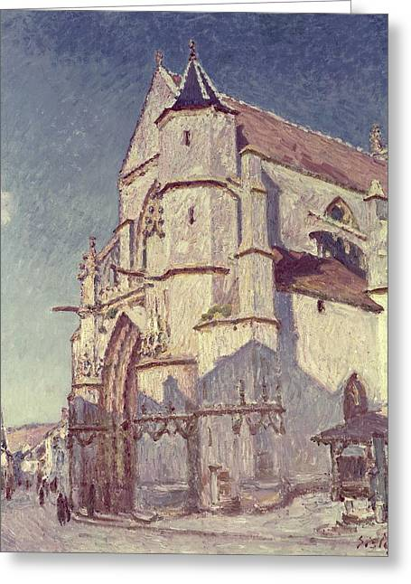 Moret Greeting Cards - The Church at Moret Greeting Card by Alfred Sisley