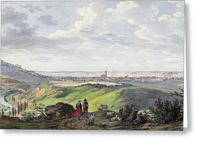 The City Of Arnberg In The Oberpfalz Greeting Card by Carl Heinzmann