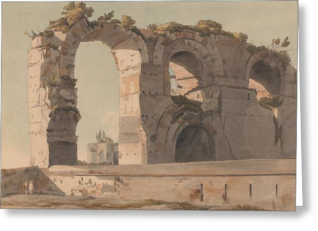 The Claudian Aquaduct, Rome Greeting Card by Francis Towne