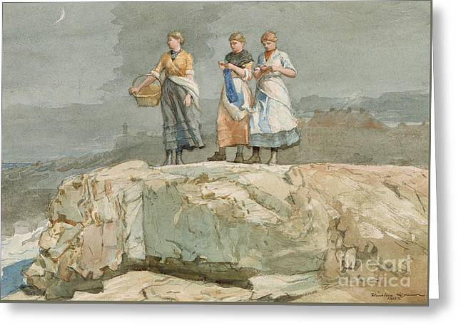 The Cliffs Greeting Card by Winslow Homer