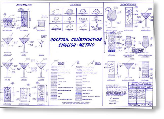 The Cocktail Construction Blueprint Greeting Card
