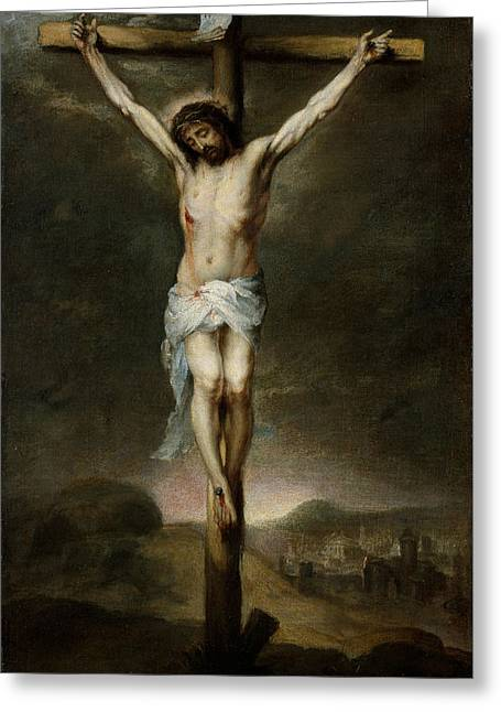 The Crucifixion Greeting Card by Bartolome Esteban Murillo