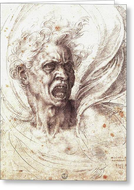 The Damned Soul Greeting Card by Michelangelo Buonarroti