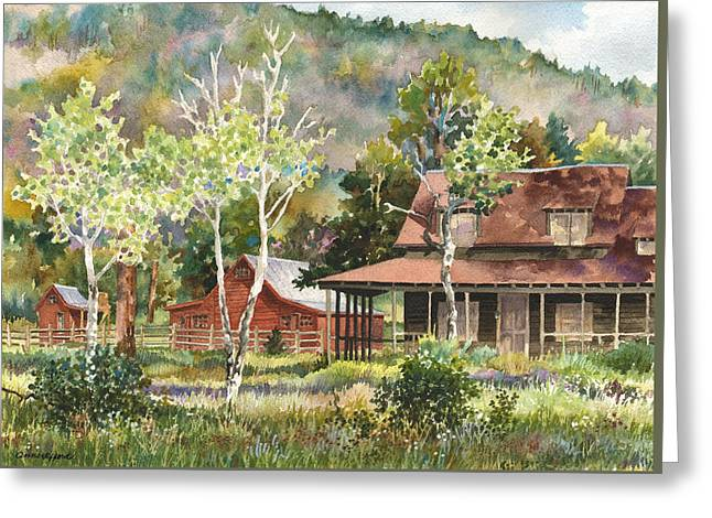 The Delonde Homestead At Caribou Ranch Greeting Card by Anne Gifford
