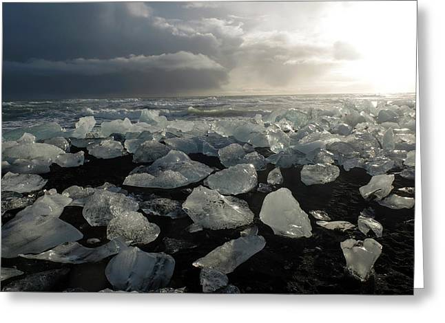 Greeting Card featuring the photograph The Diamond Beach, Jokulsarlon, Iceland by Dubi Roman