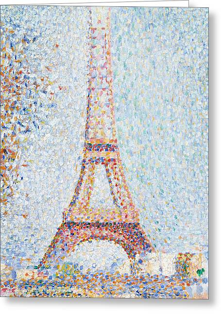 Pointillist Greeting Cards - The Eiffel Tower Greeting Card by Georges Pierre Seurat