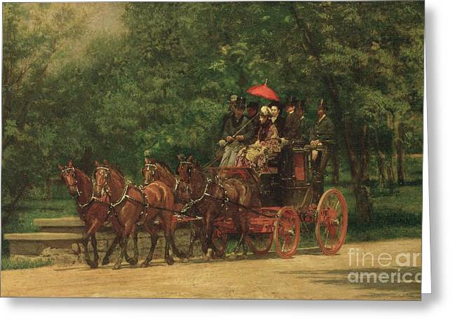 Road Trip Paintings Greeting Cards - The Fairman Rogers Coach and Four Greeting Card by Thomas Cowperthwait Eakins