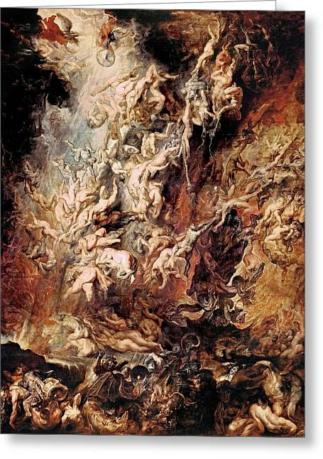 Greeting Card featuring the painting The Fall Of The Damned by Peter Paul Rubens