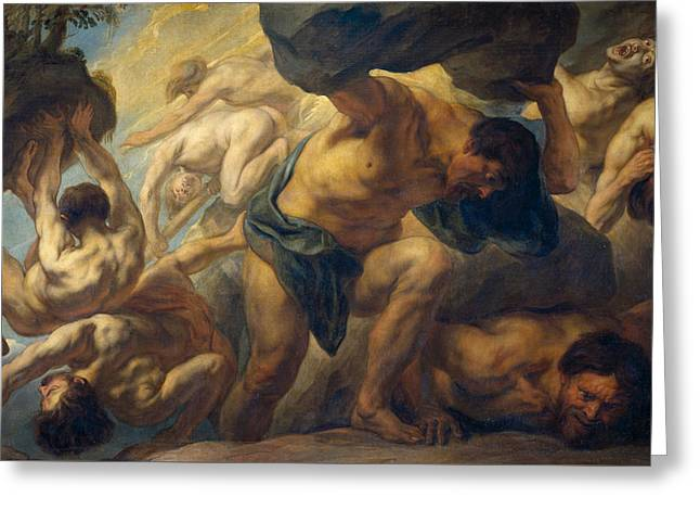 The Fall Of The Giants Greeting Card by Jacob Jordaens