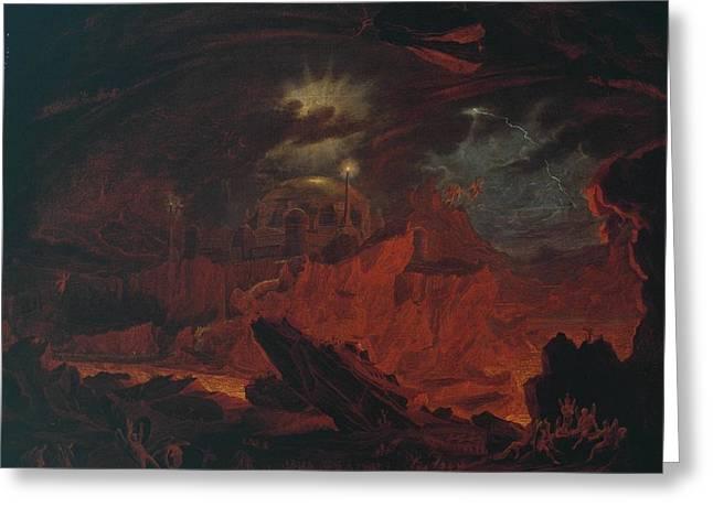 The Fallen Angels Entering Pandemonium Greeting Card by John Martin