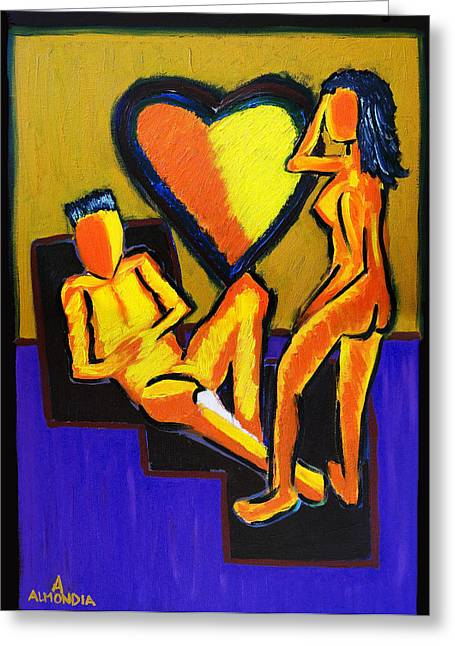 The Fire Between Us Greeting Card by Albert Almondia