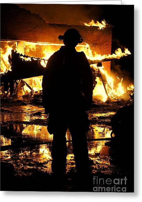 Fireman Posters Greeting Cards - The Fireman Greeting Card by Benanne Stiens
