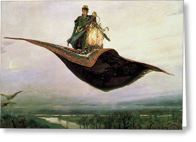 The Flying Carpet At Magic Carpet Greeting Card by Viktor Vasnetsov