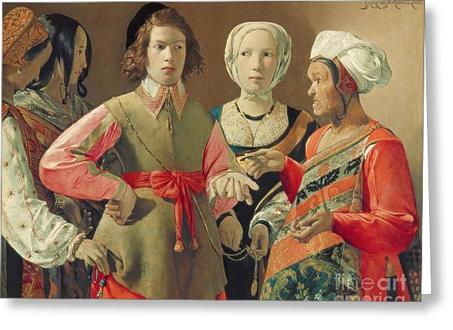 Gypsy Paintings Greeting Cards - The Fortune Teller Greeting Card by Georges de la Tour