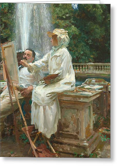 The Fountain Villa Torlonia Frascati Italy Greeting Card by John Singer Sargent