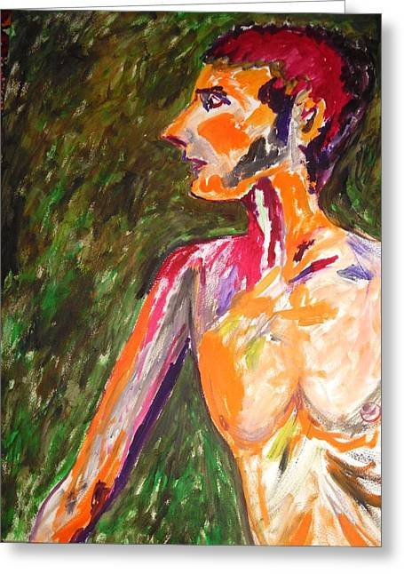Greeting Card featuring the painting Benjamin Beseiged by Esther Newman-Cohen