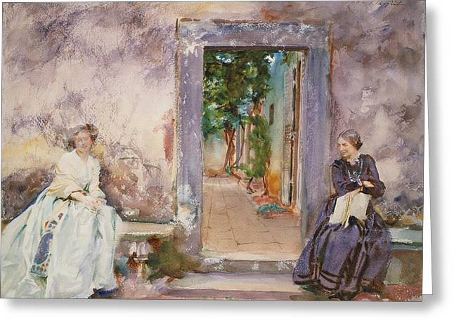 The Garden Wall Greeting Card by John Singer Sargent