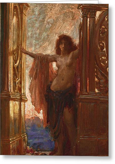 The Gates Of Dawn Greeting Card by Herbert James Draper
