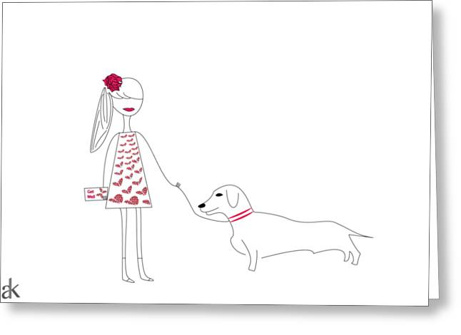 The Girl And The Dog Greeting Card by Ani Khachatryan