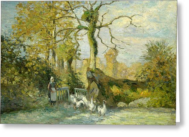 The Goose Girl At Montfoucault. White Frost Greeting Card by Camille Pissarro