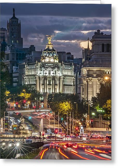 The Gran Via Madrid Spain Greeting Card by Ayhan Altun
