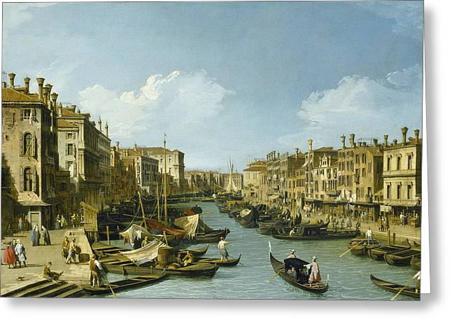 The Grand Canal Near The Rialto Bridge, Venice Greeting Card by Canaletto