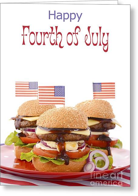 The Great Bbq Hamburger With Flags Greeting Card