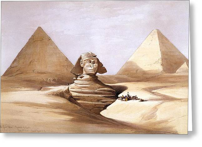 The Great Sphinx. Pyramids Of Gizeh Greeting Card by David Roberts