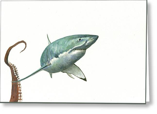 The Great White Shark And The Octopus Greeting Card