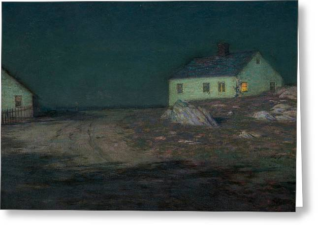 The Harbor Light Greeting Card by Birge Harrison