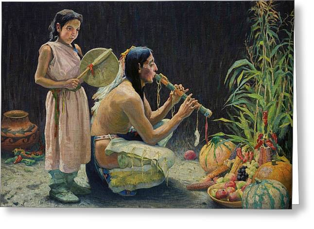 The Harvest Song Greeting Card by Eanger Irving Couse