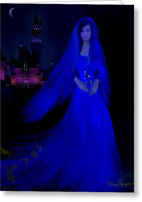 The Haunted Castle Greeting Card by Thanh Thuy Nguyen