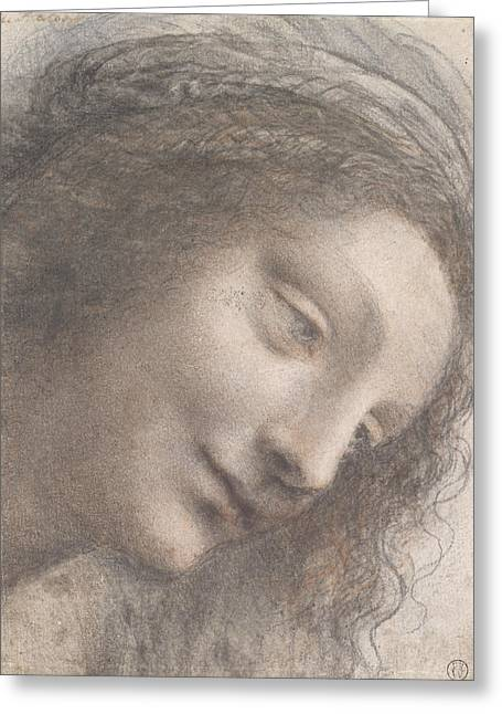 The Head Of The Virgin In Three-quarter View Facing Right Greeting Card