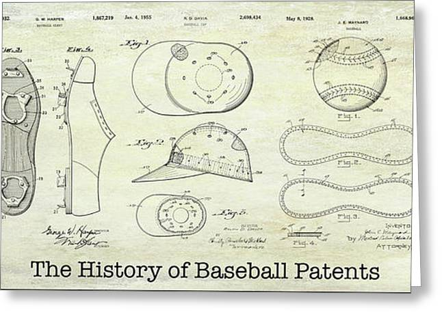 The History Of Baseball Patents Greeting Card by Jon Neidert