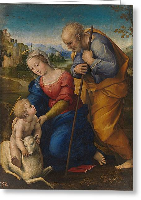 The Holy Family With A Lamb Greeting Card